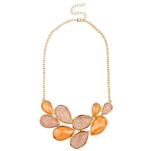 Lux accessori Arancione pietra rosa goccia Caviale Teardrop dichiarazione collana - Magnetic Sterling Silver Ring