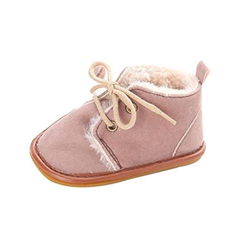 Kolylong Baby Unisex casual Toddler Infant Snow Boots Shoes Rubber Sole Prewalker Crib Shoes (11CM≈UK:1.5, Light purple)