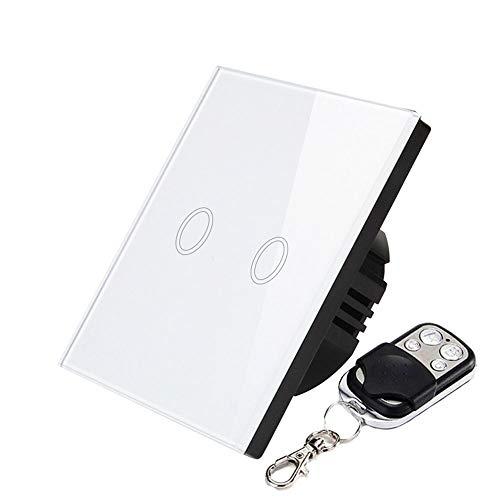 Smart RF Touch Lichtschalter Glasscheibe 220 V Standard Wand Smart Touch Schalter Glas Panel Lichtschalter Modul(2 Gang 1-Wege-Fernschalter) -