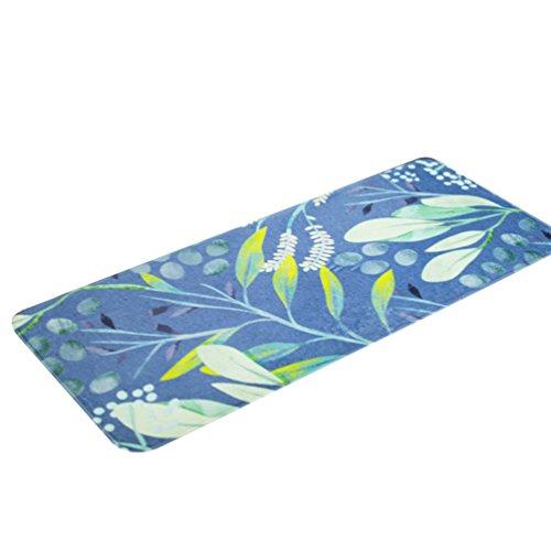 CHENGYANG Küchenmatten Fußabtreter Anti-Rutsch Schlafzimmer Fußmatte Eingangsmatten Küchenteppich (Blau Weiß, 50 * 120cm)