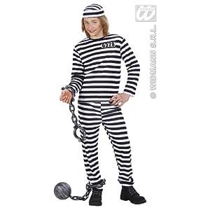 WIDMANN WDM72937?Disfraz para niños de preso, blanco/negro (140cm/8?10años), XS