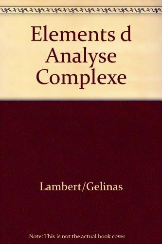 Eléments d'analyse complexe