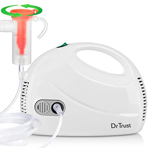 Dr Trust (USA) Compressor Nebulizer Machine with Flow Adjuster with Mask for Kids and Adult - 407 (White)