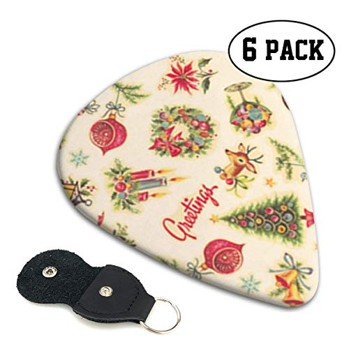 Retro Christmas Decals Celluloid Guitar Picks Premium Picks 6 Pack for Guitar,Mandolin,and Bass 0.46mm, 0.71mm, 0.96mm Optional with PU Leather Pick Holder(0.46mm) - Optional Decals