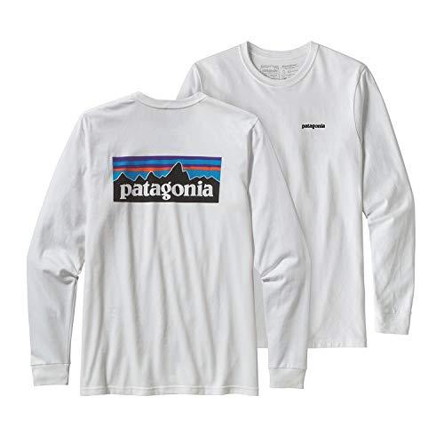 Patagonia Shirt White (Patagonia Herren L/S P-6 Logo Responsibili-Tee, White, L)