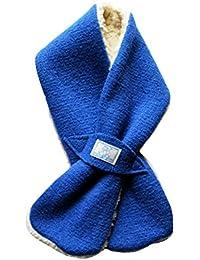 PICKAPOOH Baby / Kinder Schal aus Wollwalk mit Plüschfutter (Blau)
