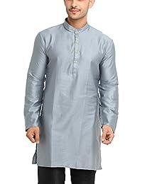 SHOWOFF Men's Cotton Silk Full Sleeve Regular Fit Solid Grey Kurtha (Utsavkurtha062)