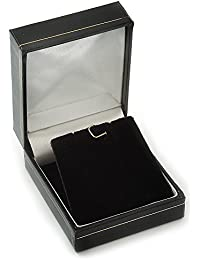 Black Leatherette Stud Earrings/ Pendant Jewellery Box (Jewellery are Not Included)