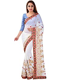 Ganga Creation Women's Georgette Saree with Blouse Piece (White)