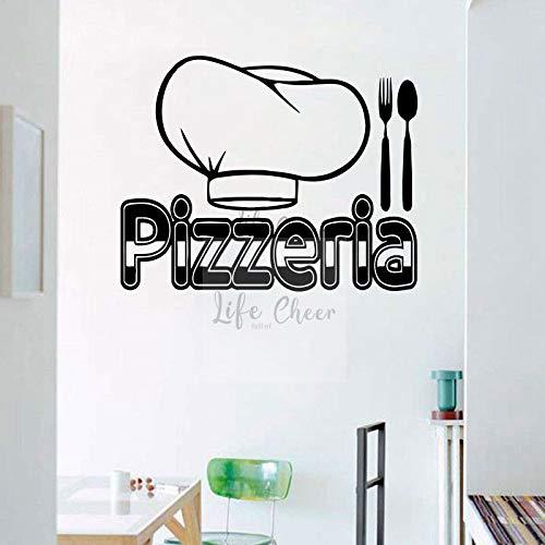 Yyoutop Pizzeria Logo Wand Fenster Vinyl Aufkleber Pizza Kochmütze Kunst Aufkleber Abnehmbare Pizza Shop Dekoration Pizza Vinyl Poster 1 62X57 cm -