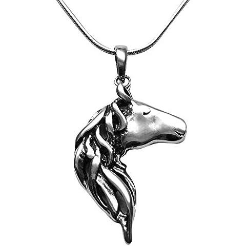 Broche de plata de ley Collar con colgante en forma de cabeza de caballo