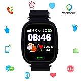 Montre connectée pour iOS/Android, Enfant Smarwatch GSM Gprs GPS LBS WiFi Locator Géolocalisation - Téléphone - Chat Vocal Anti Perte Smartwatch Tracker (Q90 GPS Noir)