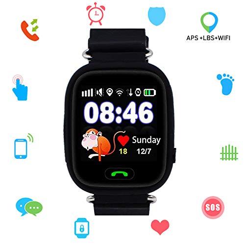 Niños SmartWatch Telefono, GPS LBS WiFi Actividad Tracker Pantalla táctil Inteligente Relojes con Chat SOS Llamar Compatible para iPhone Android (Q90 Negro)