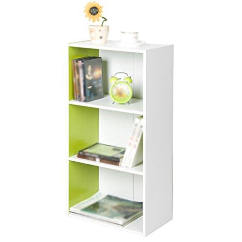 DFHHG® Librería Libro Stand 40 (largo) * 23.8 (ancho) * 80 (alto) Cm Tres capas Librería Combinación Verde Blanco durable