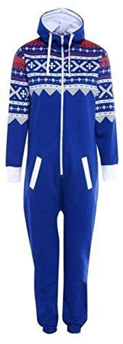 Jumpsuit mit Camouflage-Print, Reißverschluss, Kapuze und Fleece-Futter Gr. M, königsblau