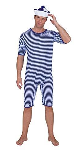 narrenkiste O818-XXL blau-weiß gestreift Herren Bade Anzug Ringel Kostüm ()