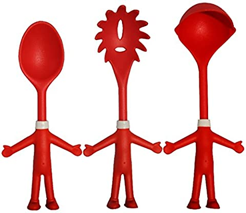 Mr. Spaghetti & Friends, Pasta Server Set, 3 Funny Kitchen Utensils, Spaghetti Spoon (Pasta Fork), Sauce Ladle and Serving Spoon, Great Birthday Gift Idea, 3 little Helping Hands for happy Chefs