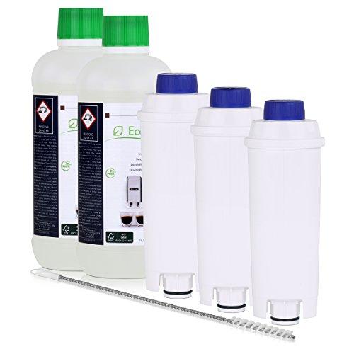 2x DELONGHI EcoDecalk Entkalker + 3x DELONGHI Wasserfilter DLS C002 + 1x DELONGHI Reinigungsbürste (Pipe Cleaner)