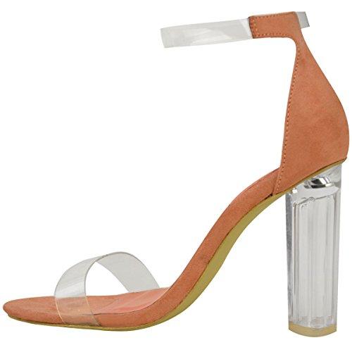 Sandales à bouts ouverts - talon haut transparent/bride cheville - femme Faux suède couleur pêche