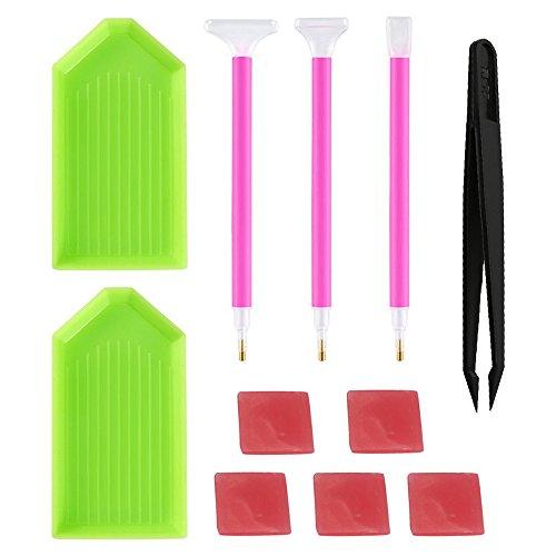 Vovotrade Home Diamant Malerei Werkzeuge Kit DIY Diamant Klebrige Stifte mit Diamant Stickerei Box, für Nagel Kunst und Diamant Stickerei, 11Stück Werkzeug Set
