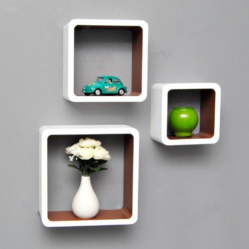 3er Set Lounge Cube Regal (3Stück), Retro, weiß und braun
