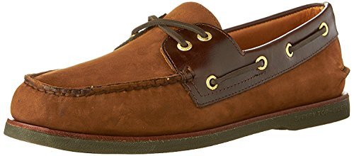 Sperry Top-Sider Men's Gold Cup A/O 2-Eye Boat Shoe,Brown/Buc Brown Leather,US 8 (Gold Sperry Cup)