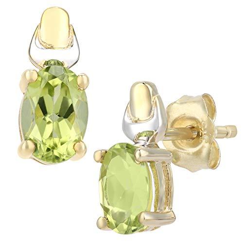 Citerna Damen-Ohrstecker 9 K Gelb und Weißgold ovale Peridot Ohrringe 375 Bicolor teilrhodiniert grün Ovalschliff PE01579YW PD