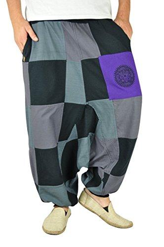virblatt –Patchwork Haremshose Damen Herren Goa Hose mit Patchwork als Alternative Kleidung- Facettenreich