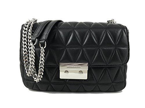 Michael Kors Damen Sloan Bag Baguette, Schwarz (Black), 9x18x27 centimeters