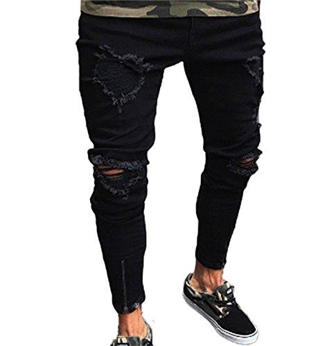 Huateng jeans uomo slim skinny elasticizzato strappato biker strappato denim pantaloni attillati (nero)