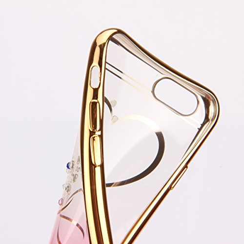 iPhone 6S Plus Hülle, iPhone 6 Plus Hülle, iPhone 6S Plus Silikon Hülle Rose Gold Tasche Handyhülle [Kratzfeste, Scratch-Resistant], iPhone 6 Plus TPU Gel Bumper Case Weiches Transparent Silikon Schut Red Love