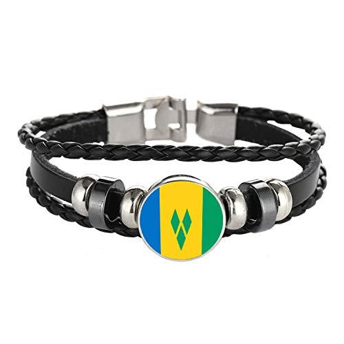 WONS Armband,Jahrgang Multilayer Gewebte Legierungen Armband,Fußball Thema Armbänder Zum Männer Frau Mode Dekorationen/St. Vincent und die Grenadinen/Einstellbar