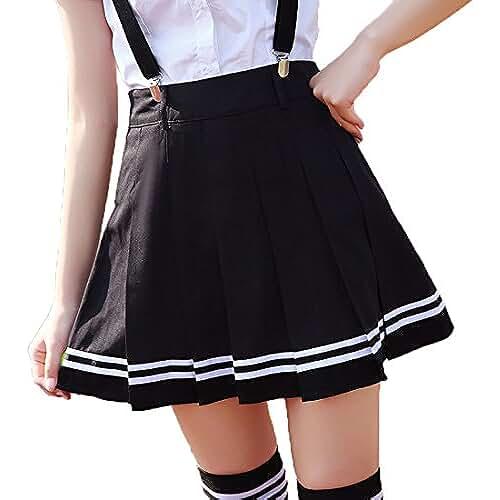 ropa primavera kawaii URSFUR Falda verano de color puro falda plisada de rayas rodilla nuda para niña adolescente y mujer
