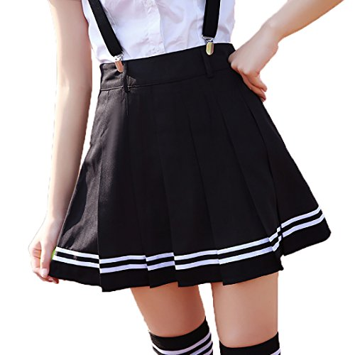 Kostüme Für Halloween Adult Frauen (URSFUR hochwertige Rock Schulmädchen Kostüm knielang Damen Kostüm Kostüm Sexy Halloween Kostüme Fancy Dress Outfit - schwarz mit)