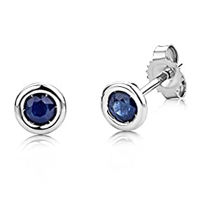 Miore Gold Earrings, 9ct White Gold, Sapphire Studs, USP001EWS
