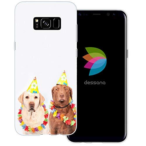 dessana Fasching Party transparente Schutzhülle Handy Case Cover Tasche für Samsung Galaxy S8 Plus Kostüm Hunde