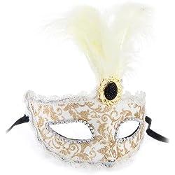 Maschera Mascherina con Piume Stile Veneziano Oro Bianco X Festa Carnevale