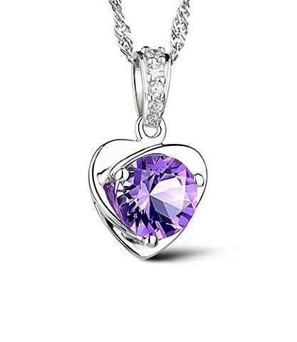 Celebrity Jewellery Swarovski Elements Crystal 925 Sterling Silver Heart Shaped Love Pendant Necklace for Women