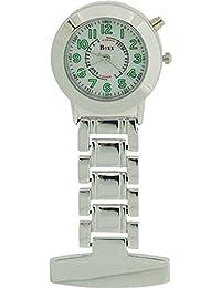 Boxx Silver Quartz Analogue Lumibrite Nurses Fob Watch With Back Light