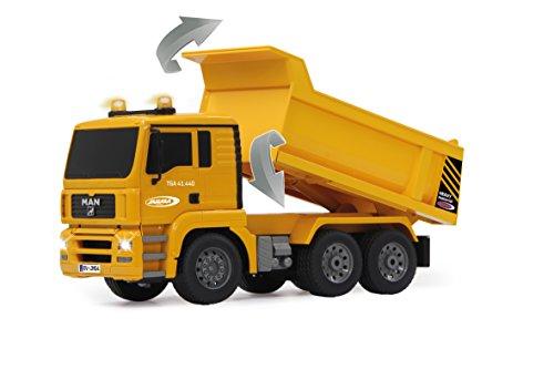 RC Auto kaufen Baufahrzeug Bild 5: Jamara 405002 - Muldenkipper MAN 1:20 2,4G - Kippmulde hoch / runter, realistischer Motorsound, Hupe, Rückfahrwarnsound, 4 Radantrieb, gelbe LED Signallichter, programmierbare Funktionen*