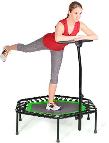 SportPlus Fitness Trampolin, Bungee-Seil-System, Ø 110 cm, bis 130 kg Benutzergewicht, TÜV Süd Sicherheit geprüft, grün - 5