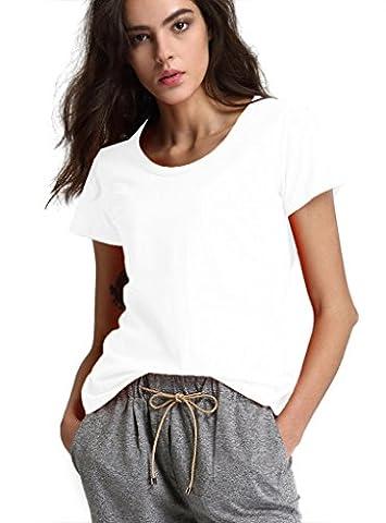 Escalier Femmes Basique T-Shirt Col rond Coton Manches Courtes
