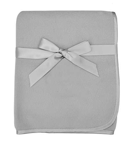 American Baby Company Fleece Decke mit Satin Trim, 3x 20,3cm, Grau (Trim Decke Baby)