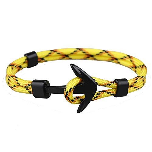 EXINOX Pulsera Nautica | Hombre Mujer | Nautica Edition | Ancla Negro Mate (Amarillo, Naranja y Negro)