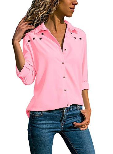 Quceyu Damen Bluse Langarm V-Ausschnitt Elegant Einfarbig Hemd Casual Oberteile Top (Rosa, Large)