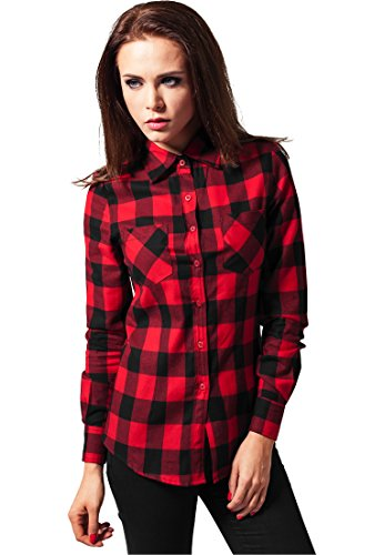 Ladies Checked Flanell Shirt blk/red XS (Plaid Sport Shirt Fit Classic)