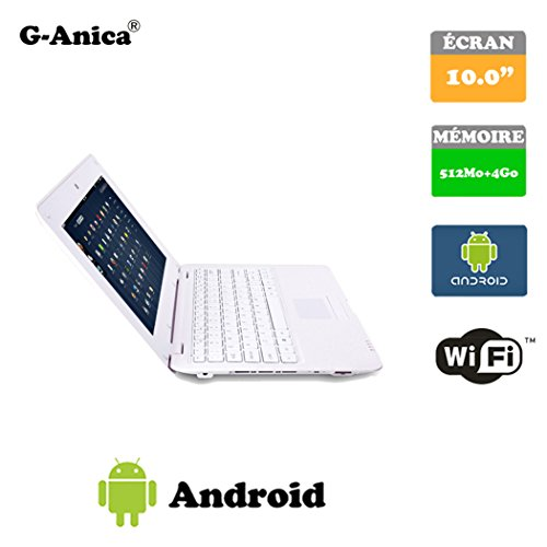 G-Anica 10.1-inch Full-HD Laptop (WIFI, Webcam, Dual-Core 512MB RAM, 4GB HDD) with Android 4.4.2 Netbook (White)
