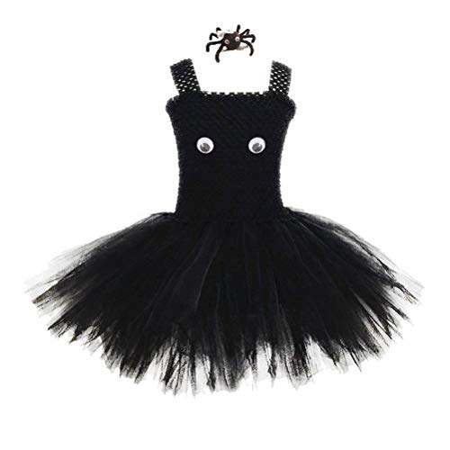 Amosfun 1 Set Halloween Girls Tutu Dress with Spider Hair Clip Baby Kids Halloween Outfits No Lining Party Costume Cosplay Clothing Set Sleeveless Dress up Favors (Size L) (Spider Soft Kostüm)