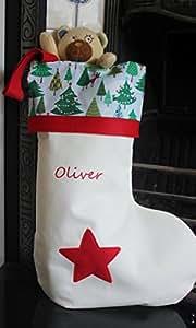 ALPHABET BARN Personalised Christmas stocking extra large size, embroidered name, handmade in the UK mini trees