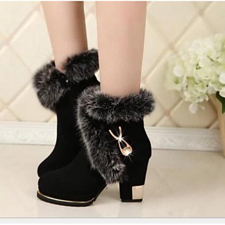 GLL&xuezi Mujer Botas Confort Botas de Combate Cuero real PU Primavera Invierno Casual Negro 5 - 7 cms , black... -